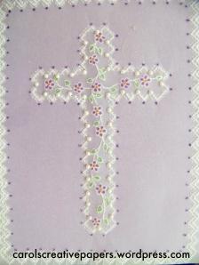 Teacher's beautiful Cross card sample in parchment class